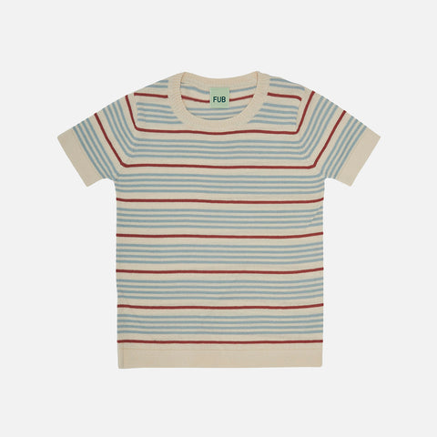 Organic Cotton Striped SS Top - Ecru/Dusty Blue