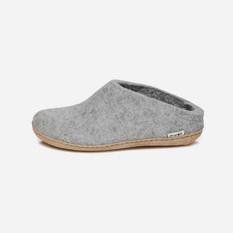 Adults Felted Wool Open Heel Slipper - Grey