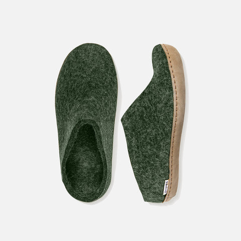 Adults Felted Wool Open Heel Slipper - Forest