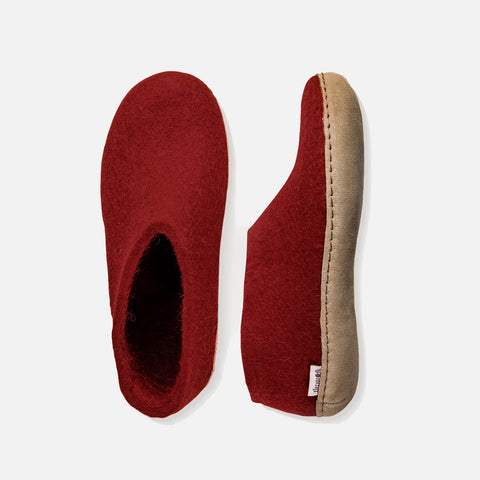 Adults Felted Wool Slipper Shoe - Red
