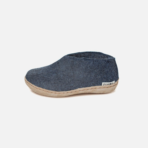 Felted Wool Slipper Shoe - Denim