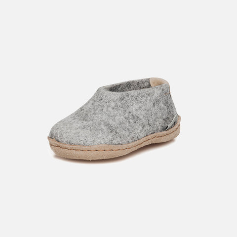 Felted Wool Slipper Shoe - Grey