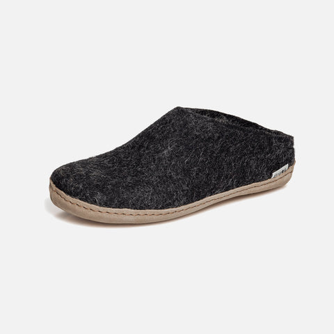 Adults Felted Wool Open Heel Slipper - Charcoal
