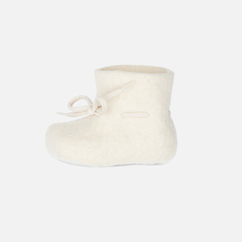 Felted Wool New Born Slipper Boot - Natural
