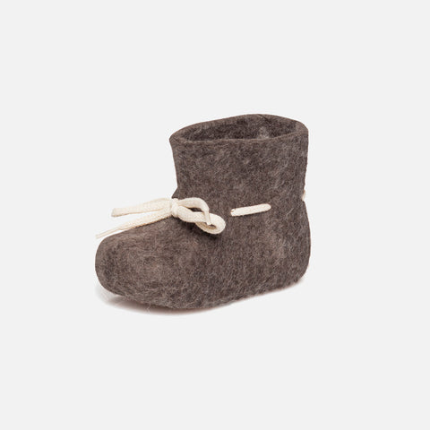 Felted Wool New Born Slipper Boot - Brown