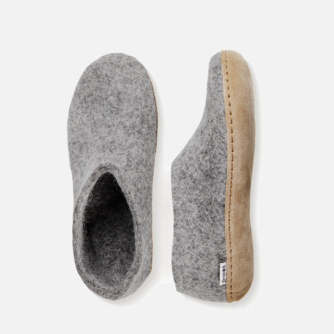 Adults Felted Wool Slipper Shoe - Grey