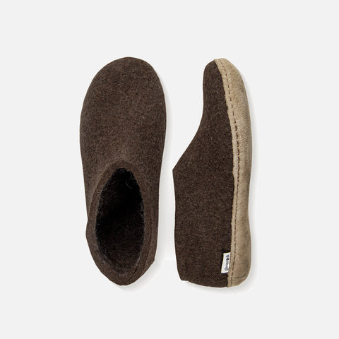 Adults Felted Wool Slipper Shoe - Brown