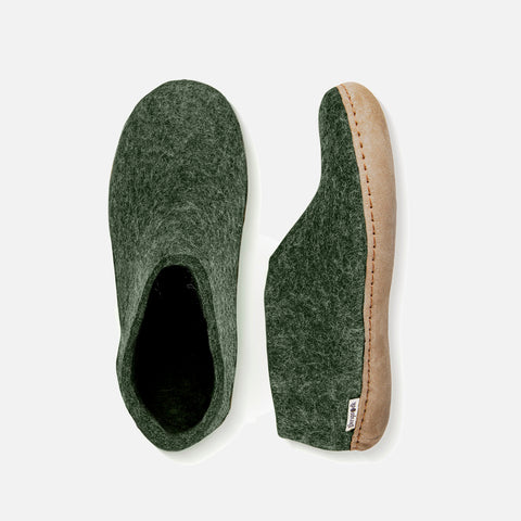 Adults Felted Wool Slipper Shoe - Forest