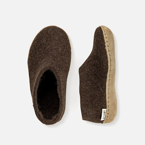 Felted Wool Slipper Shoe - Brown