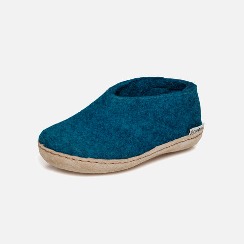 Felted Wool Slipper Shoe - Petrol