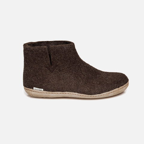 Adults Felted Wool Slipper Boot - Brown