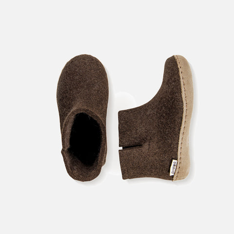 Felted Wool Slipper Boot - Brown