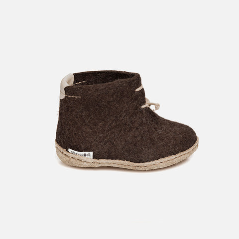 Felted Wool Toddler Slipper Boot - Brown
