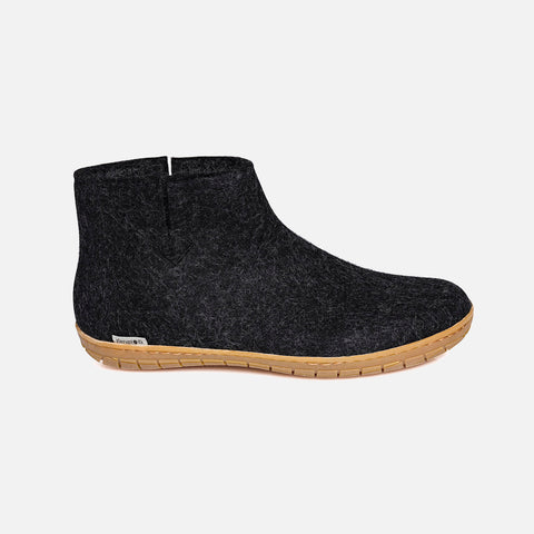 Adults Felted Wool Slipper Boot With Rubber Sole - Charcoal