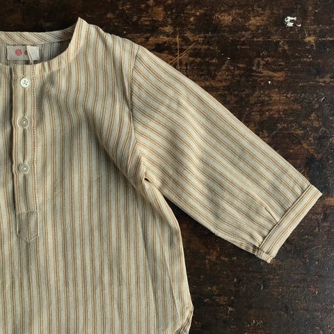 Exclusive Hand Woven Cotton Baby Tulsi Shirt - Ochre Stripe