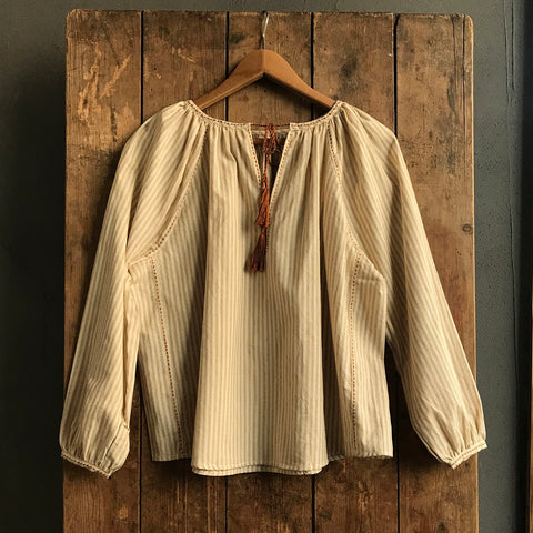 Women's Hand Woven Cotton Petra Blouse - Ochre Stripe