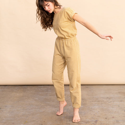 Women's Cotton Adele Jumpsuit - Mustard Gingham
