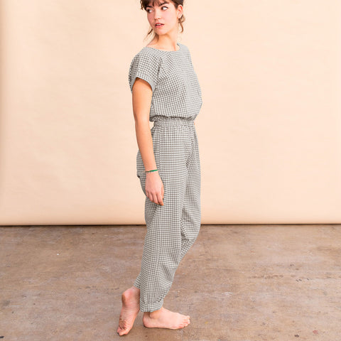 Women's Cotton Adele Jumpsuit - Teal Gingham