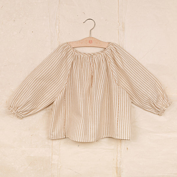Hand Woven Cotton Dolma Blouse - Ochre Stripe