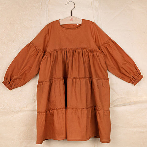 Cotton Poplin Angèle dress- Rust