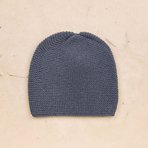 Hand Knit Garter Stitch Beanie Hat - Blue