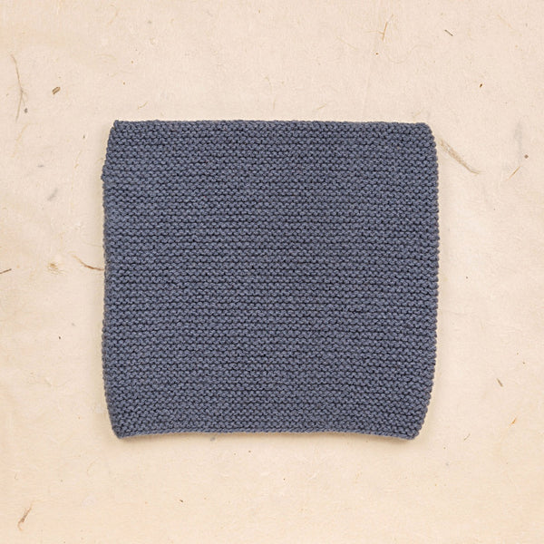 Hand Knit Garter Stitch Snood - Blue