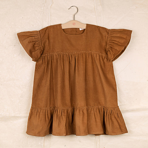 Cotton Corduroy Marguerite Dress - Ochre