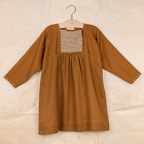 Cotton Twill Noor Dress - Ochre