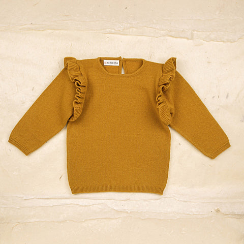 Wool Zoe Baby Sweater - Ochre