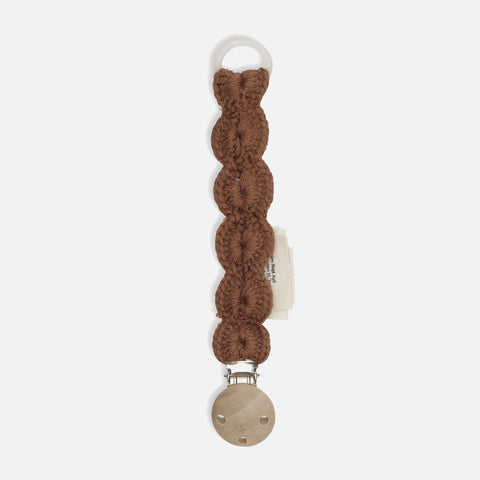 Merino Wool Soother/Pacifier Clip - Toffee