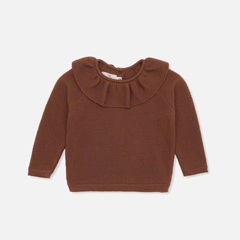 Merino Wool Fiol Collar Sweater - Toffee