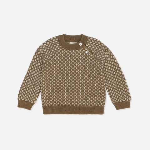 Merino Meomi  Folk Knit Sweater - Olive