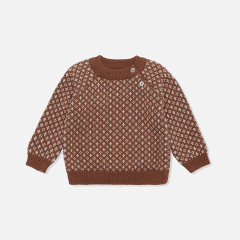 Merino Meomi  Folk Knit Sweater - Toffee