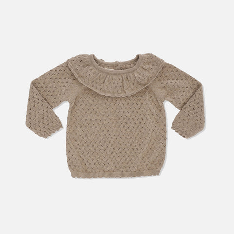 Organic Cotton Fiol Collar Sweater - Brown Melange