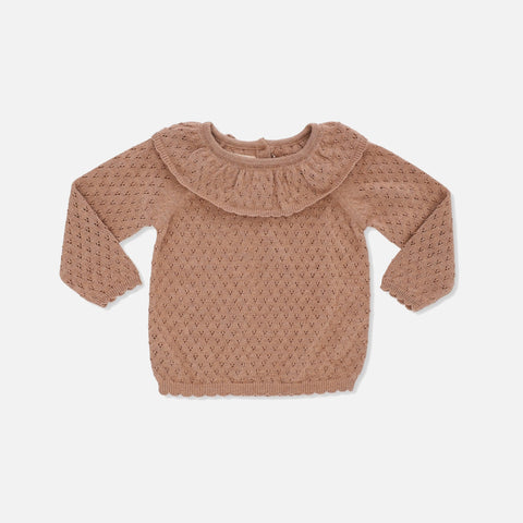 Organic Cotton Fiol Collar Sweater - Sahara