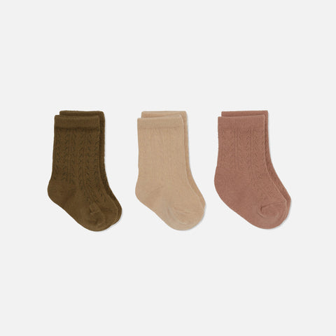 Organic Cotton Pointelle Socks - Brush/Moonlight/Breen - 3 Pack