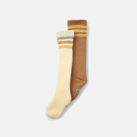 Organic Cotton Long Socks - Breen/Lemon Sorbet - 2 Pack