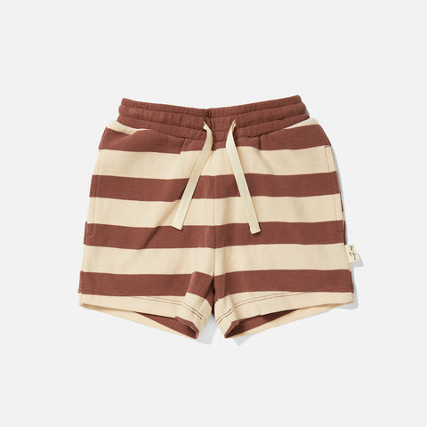 Cotton Lou Shorts - Fig Brown Stripe