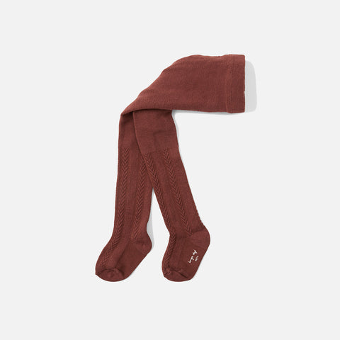 Organic Cotton Pointelle Tights - Fig Brown