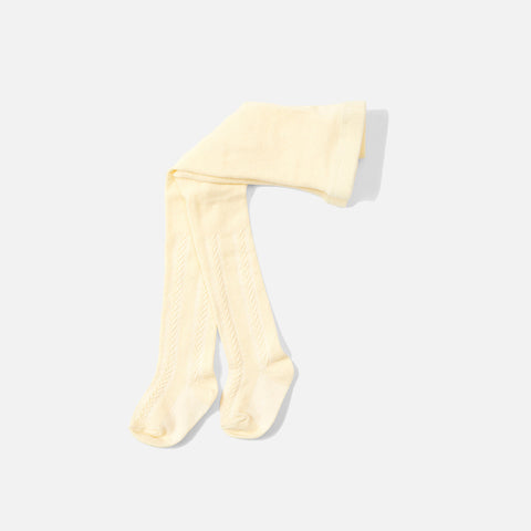 Organic Cotton Pointelle Tights - Lemon Sorbet