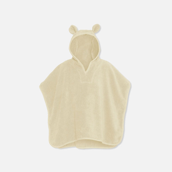 Organic Cotton Terry Kid's Poncho - Off White