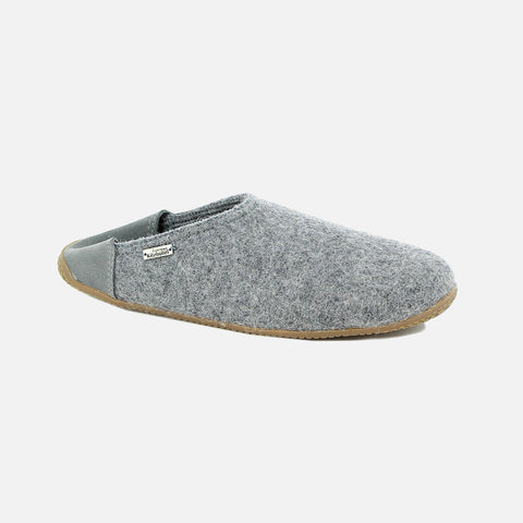 Adult's Boiled Wool Slippers - Grey