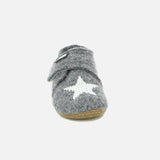 Velcro Wool Slipper Star Shoe - Grey