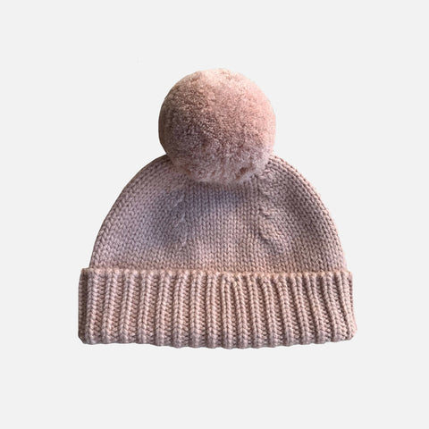Merino Wool Otto Bobble Beanie - Blush