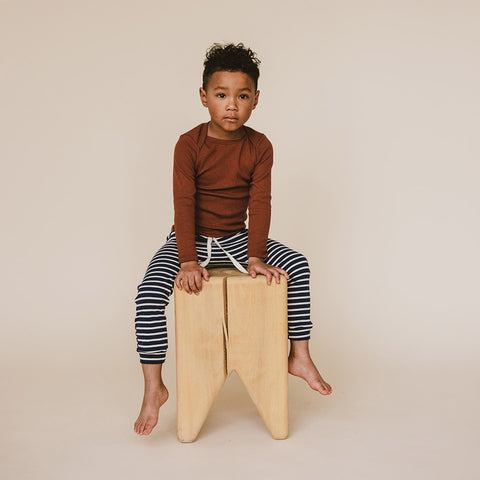 Organic Cotton Leggings - Charcoal Stripe