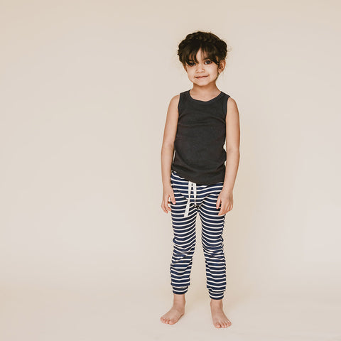 Organic Cotton Leggings - Blue/Natural Stripe