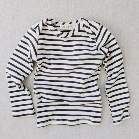 Organic Cotton LS Tee - Natural/Charcoal Stripe