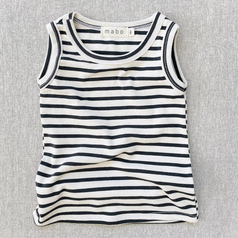 Organic Cotton Tank Top - Charcoal Stripe