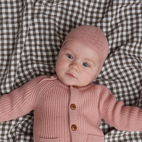 Merino Wool Pointelle Baby Bonnet - Blush