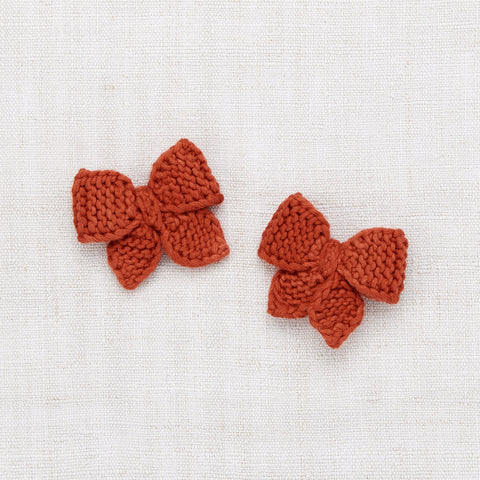 Hand Knit Cotton Baby Puff Bow Set - Paprika